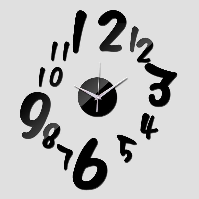 2015 promoção parede espelho acrílico relógios de quartzo moda relógio digital de adesivo decoração home moderno frete grátis