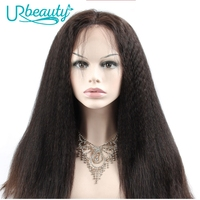 Ur Beaty 180% Yaki Straight Front Lace Human Hair Wigs For Black Women Brazilian Human Hair Lace Wig Pre Plucked with Baby Hair