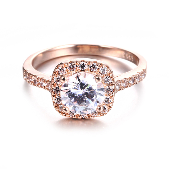CC Jewelry Fashion Jewelry Rings For Women Luxury Rose Gold Color Square Stone Party Bridal Wedding Engagement Ring Bijoux CC627