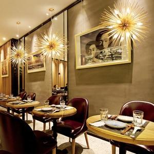 Image 3 - Nordic Artistic LED Aluminum Dandelion Chandelier Golden Hanging Lamps Decorative Fixture Lighting Led Home Lights