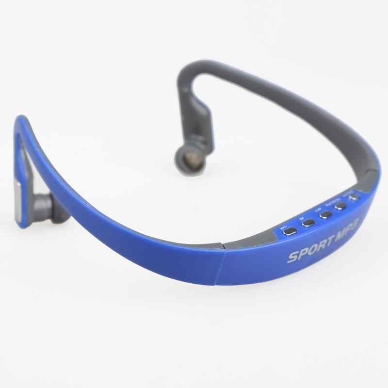 Auriculares deportivos con gancho para la oreja, auriculares inalámbricos con reproductor de MP3, auriculares recargables, compatible con tarjeta TF, Radio FM, azul y rosa