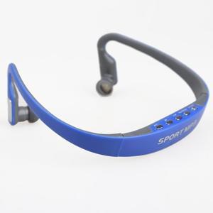 Image 2 - سماعات أذن رياضية مزودة بخطاف سماعات لاسلكية ومشغل MP3 سماعة رأس قابلة لإعادة الشحن تدعم بطاقة TF/راديو FM أزرق/وردي