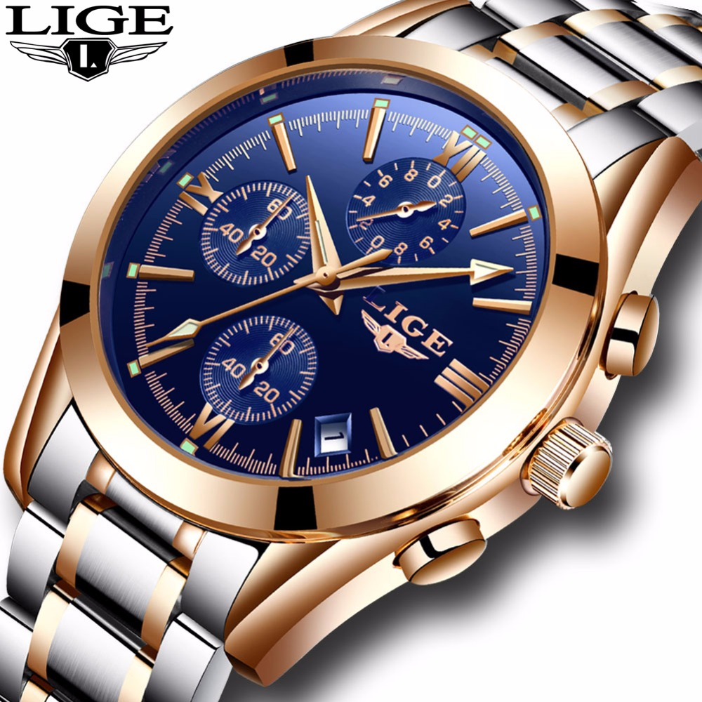 Relogio Masculion Men Top Luxury Brand LIGE Military Sport Watches Men's Quartz Clock Male Full Steel Casual Business WristWatch vinoce top luxury brand men military sport watches men s quartz clock male leather waterproof casual business wristwatch relogio