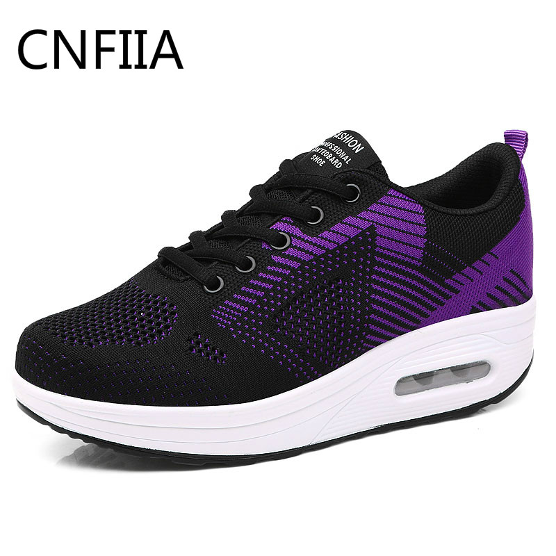 CNFIIA Women Sneakers Ladies Shoes Platform Women Casual Shoes Women Thick Heels Sneakers 2018 Fashion Black Pink Purple Casual
