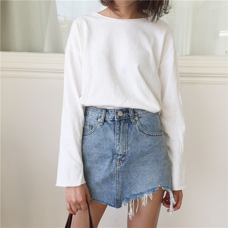 Summer Pencil Skirt High Waist Washed Women Skirts Irregular Edges Denim Skirts All Match Mini Saia Skirt