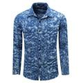 2017 Spring men's casual brand good quality cotton flower long sleeve shirts autumn man baroque style fashion print shirt M-XXL