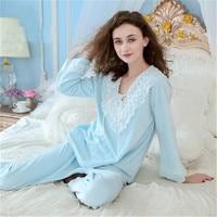 weiqiya Autumn/winter Pure Cotton Women Pajamas Pants Set Long Sleeved Trousers Spring Autumn Nightdress Princess Home Clothes