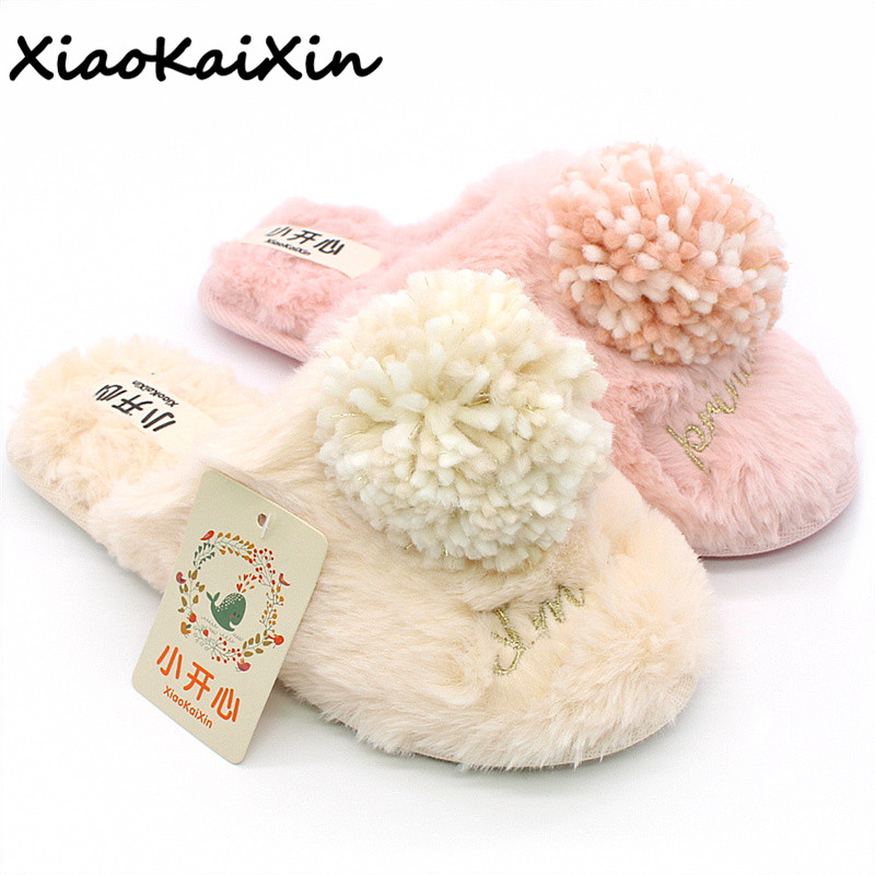 New Autumn Winter Silky Velvet Anti Skid Keep Warm Cotton Slippers Women Indoor Home Faux Rabbit Fur girls Shoes Furry Slipper38 rabbit hair lady autumn winter new weaving small pineapple fur hat in winter to keep warm very nice and warm comfortable
