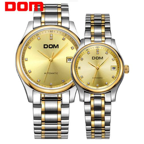 DOM top brand mechanical watch for lovers hot luxury waterproof stainless steel leather Couples watches crystal hombre M-95+G-95 muhsein hot sellingnew lovers quartz watches stainless steel watch business women dress watches for couples free shipping