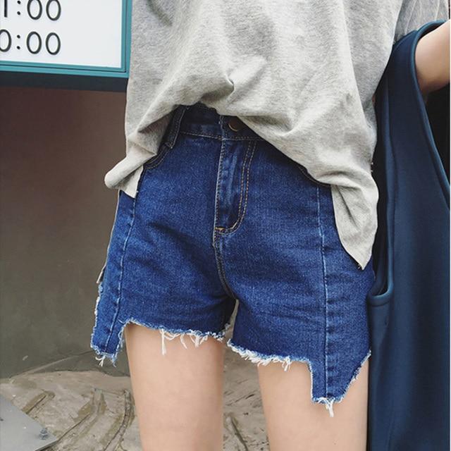 fashion ladies irregular raw edges ripped denim shorts women summer cropped femme short jeans hotpants casual pantalon corto