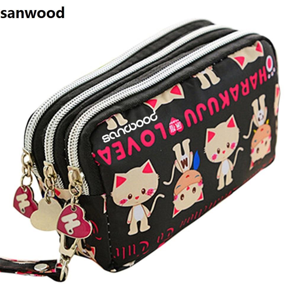 Europe Style Women Cute Cat Heart Wallet Purse Triple Zipper Clutch Phone Bag Case Organizer 7 colors 9XRF