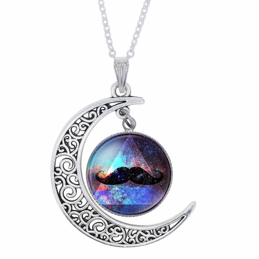 YAUTION אופנה נשים Galaxy שטח יקום ערפילית סגול חצי ירח סהר שרשרת בציפוי כסף שרשרת תליון