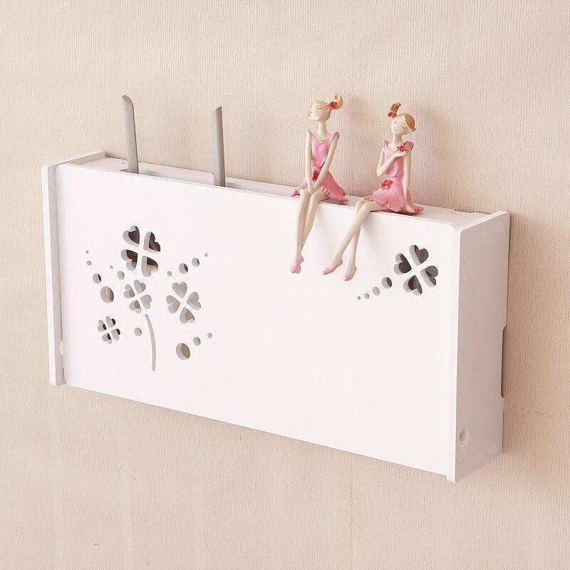 Étagère murale en bois créative wifi routeur étagère décodeur boîte suspendue maison orgainzer