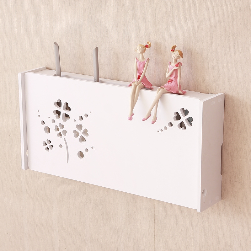 Creative wood wall shelf wireless router box set-top box wall hanging box home orgainzer zakka home decor