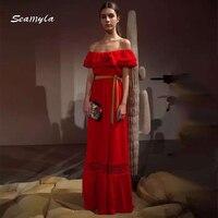 Seamyla Newest Autumn 2017 Designer Maxi Dress Women S Sexy Ruffles Lace Slash Neck Off The