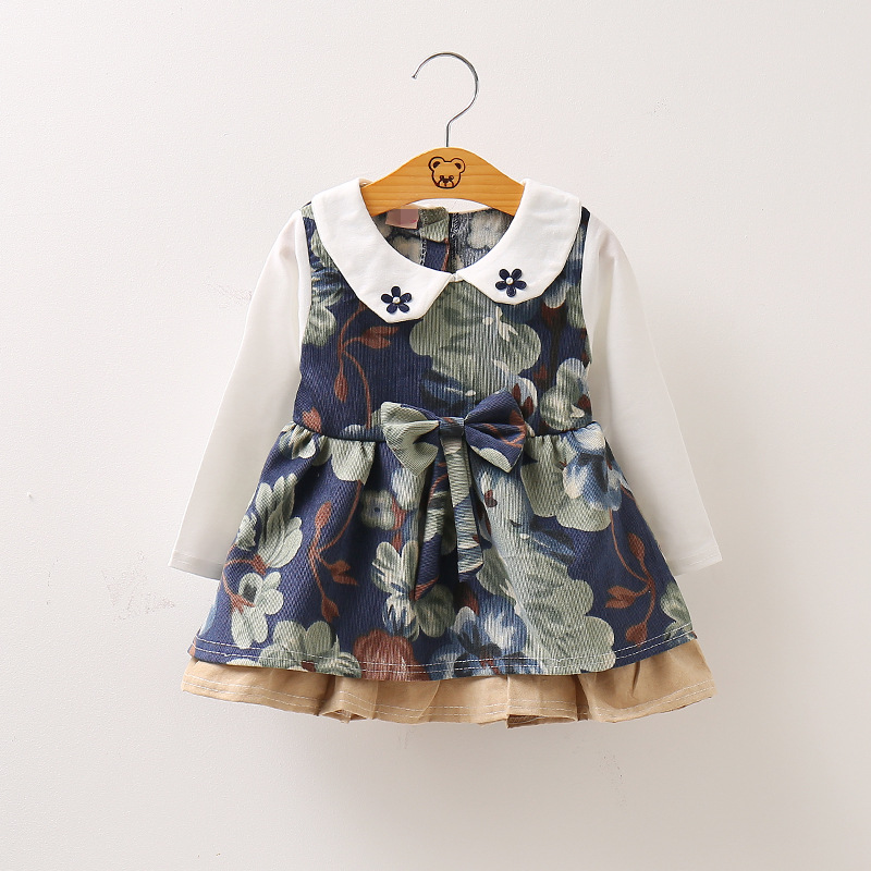 0-4 years Baby dresses girls spring autumn clothes 2017 New false 2 pieces collar big bowknot flower dress for todder girl wear tops dress girls dresses girl clothes autumn style fashion cowboy vest 2017 new 2 pieces set