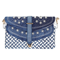 2018 New Woven Handbags Fashion National Style Blue And White Porcelain Denim Clutch Bag Casual Chains Shoulder Bag