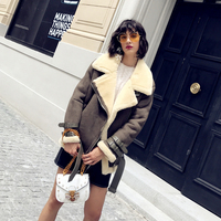 Faux Leather Suede Lamb Fur Jacket Coat Women Moto Zipper Trendy Shearling Jackets Female Overcoat Casual