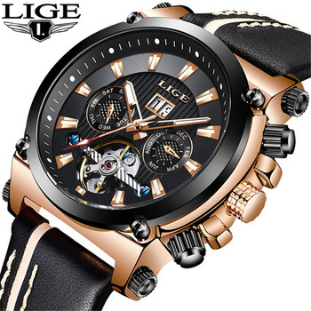 LIGE New Men's Watch Top Brand Luxury Military Sport Watches Men Leather Waterproof Automatic Mechanical Watch Relogio Masculino