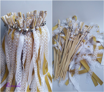 50pcs/lot Gold white stain ribbon Wedding Ribbon Stick With lace and Bell ,Wedding Ribbon Wands ribbon Twirling Streamers фото
