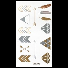 Gold Shimmering Temporary Tattoos Waterproof Temporary Tattoo Women Fake Flash Gold And Silver