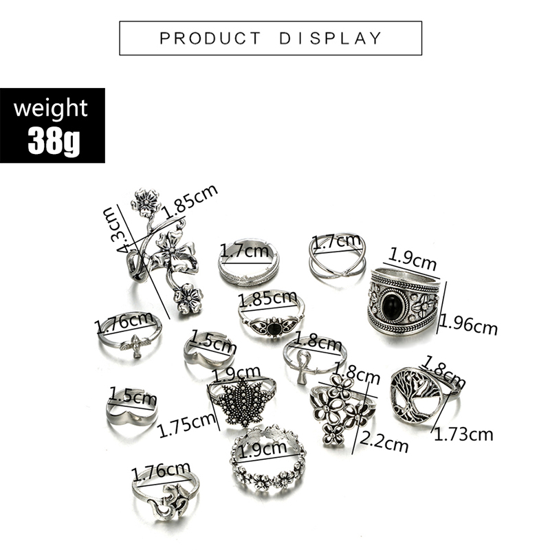 HuaTang Bohemian Antique Silver Ring Geometric Elephant Flower Green Rhinestone Knuckle Rings Midi Finger Anel Rings Jewelry 89