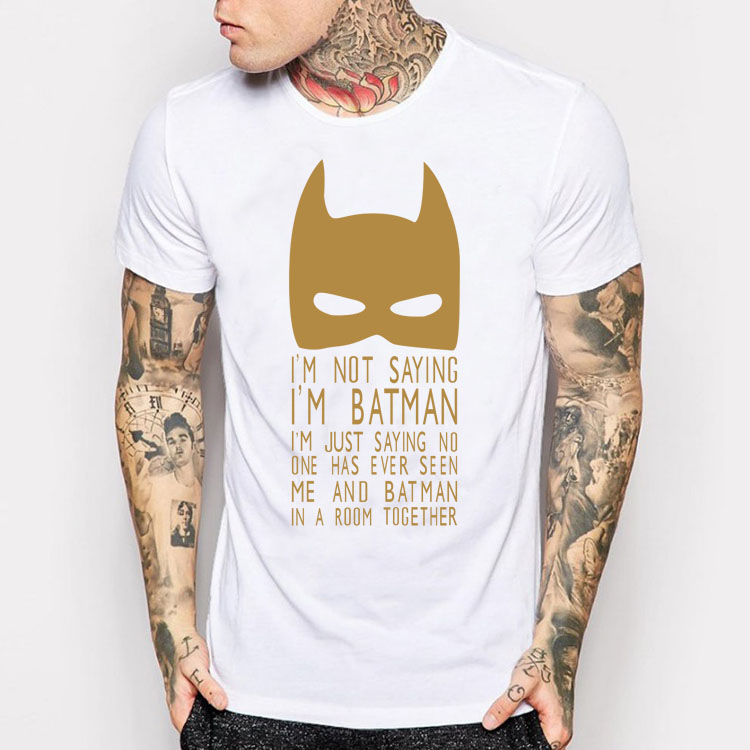 Or impression geek batman blague t chemise dc comics inspiré yolo chemises hommes femmes harajuku clothing camisetas occasionnels conception t-shirts