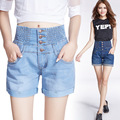 2016 summer new large size loose thinner waist elastic waist casual jeans shorts female fashion casual denim shorts S2180