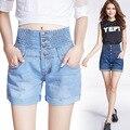 2016 verano nueva gran tamaño suelta más delgada de la cintura elástico de la cintura casual jeans shorts mujer moda shorts de mezclilla ocasional S2180
