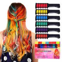Temporäre Haar Farbe Kreide Kämme Kit 6 PCS Mode Bunte Mädchen Party Cosplay Halloween Haar Salon Färben Kämme