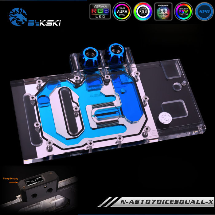 Bykski N-AS1070ICESQUALL-X Full Cover VGA Water Cooling Block with LED for ASUS GeForce GTX 1070 O8G GTX 1060 O6G O3G image