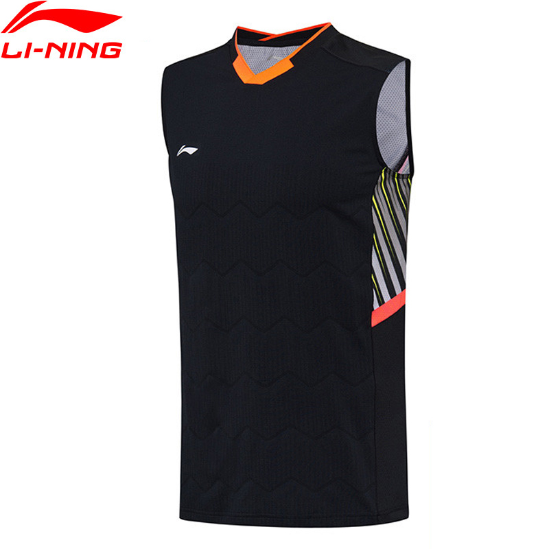 Li Ning mężczyźni Badminton kamizelka komfort w pranie Slim Fit poliester elastan podszewka oddychająca koszulki bez rękawów koszulki bez rękawów AVSN029 MBJ117 w Kamizelki do biegania od Sport i rozrywka na AliExpress - 11.11_Double 11Singles' Day 1
