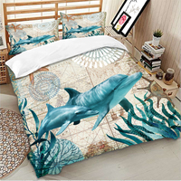 Nordic Ocean Whale Comforter Cover Bed Duvet Cover Set Kids Bedding Linens Set Soft and comfortable Bedclothes US Twin Queen
