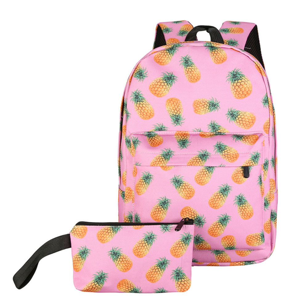 Unisex Print Pineapple Canvas Backpacks School Backpack For Girl Travel Backpack Printin ...