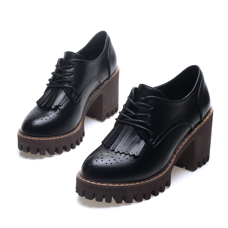 Casual gray Zapatos Señoras Nueva Altura Moda Las Mujeres Borlas Hasta Black Aumento La Del Grueso Primavera De Plataforma Talón Encaje xFHqYF0w