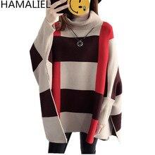 """HAMALIEL, осенне-зимнее пончо с высоким воротом, вязаный свитер,, плащ, длинный рукав """"летучая мышь"""", в клетку, Cppe, свободные пуловеры"""