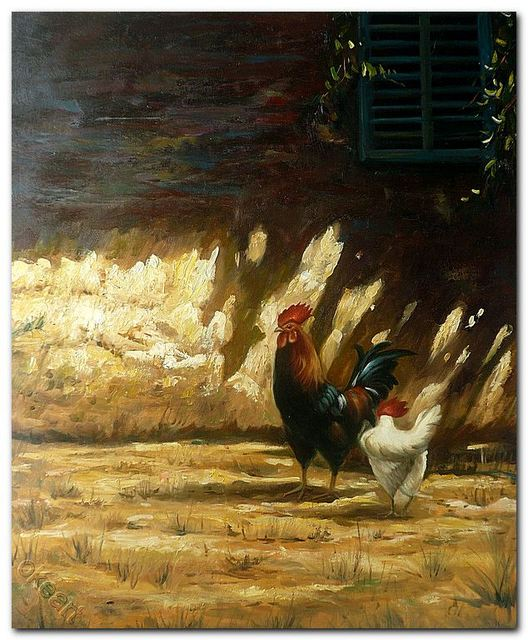 Hand Painted Animal Oil Painting On Canvas chicken Home Decoration ...