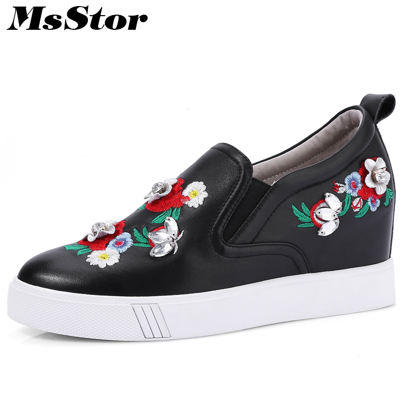 MsStor Women Height Increasing Shoes Fashion Embroider Women Flat Shoes 2018 New Spring Crystal Flower Women Flats Slip on Shoes 2017 new fashion designer casual espadrilles flat women spring printed white flower embroider slip on fishermen hemp rope shoe