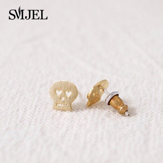 SMJEL 10 PCS-S002 Fashion Wholesale Heart Eyed Gothic Evil Skull Studs Earrings for Women boucle d'oreille femme 2017