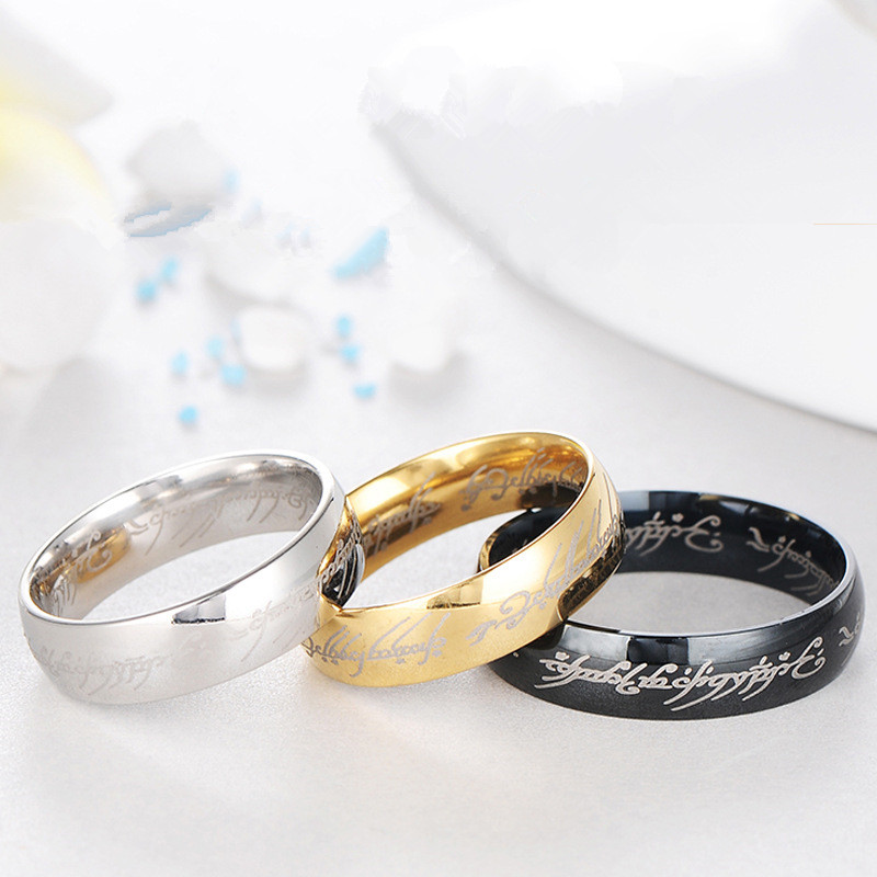 RONGQING 10pcs/lot Lord of The Ring Titanium Steel Hobbit Rings Movie Jewelry Lovers Women Men Magic Ring Engagement Cocktail