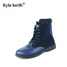 Kyle Keith Fashion Suede with Leather Ankle Boots Men Winter Snow Warm Boots Designer Lace Up Side Metal Zipper Men Shoes