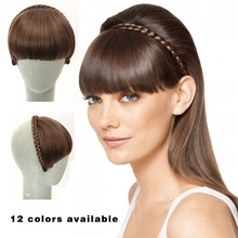 Clip in Hair Bang Synthetic Heat Resistant Fiber Hair  Cute Hair Fringe Bangs  Braid headband straight natural hair front bangs