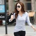Otoño Mujeres Casual V Profundo cuello Sólido de manga larga Camisas de las mujeres Mujeres Tops camiseta Más El Tamaño BTL017-55