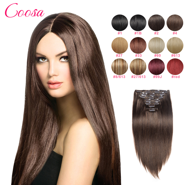 Natural Clip Ins Remy Hair Extensions 16 To 26 Inches Brown Straight