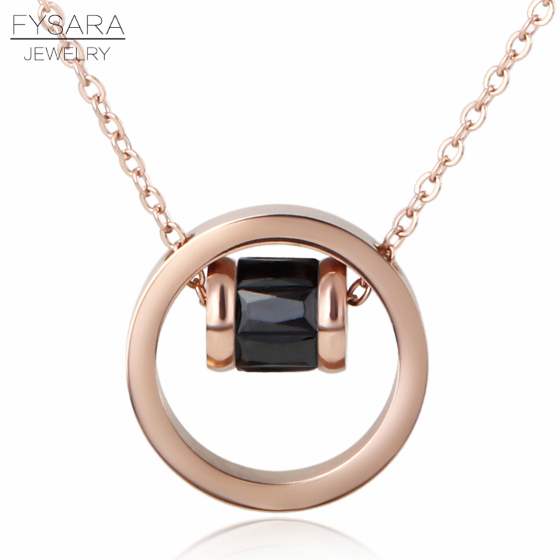 FYSARA Circle With Round AAA Colorful Crystal Pendant Necklace Fashion Jewelry Rose Gold Color Short Necklace Women Love Collar