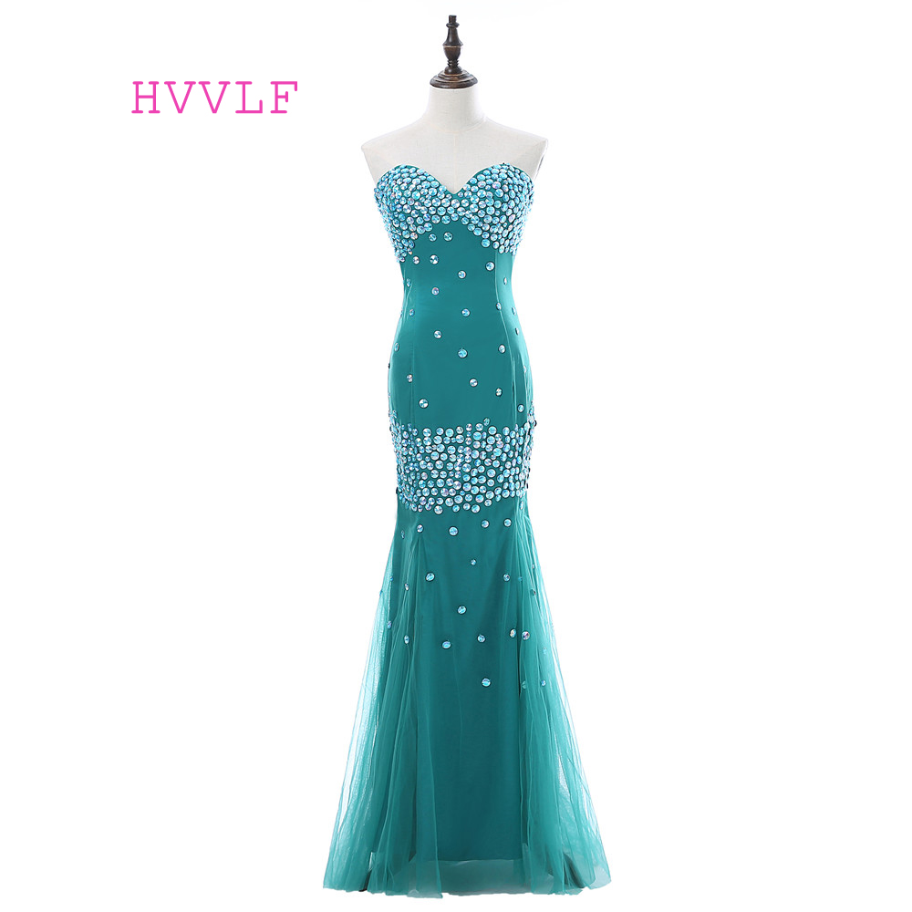 Green 2019   Prom     Dresses   Mermaid Sweetheart Tulle Crystals Backless Women Long   Prom   Gown Evening   Dresses   Robe De Soiree
