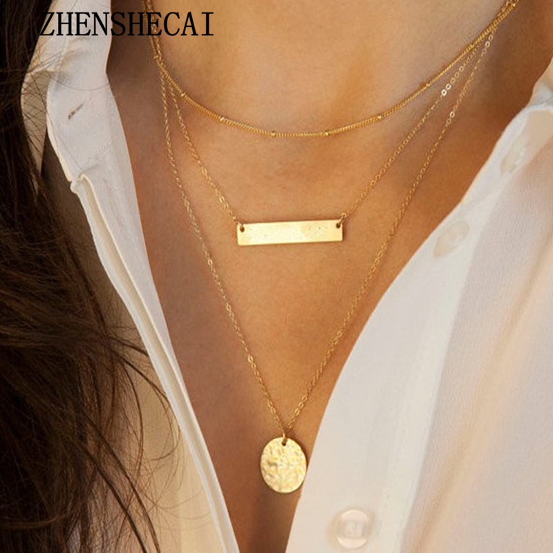 Fashion double layer gold sequins round chain necklace simple summer style Boho Beach jewelry for women accessories x355