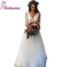 Свадебные платья 2020 с длинным рукавом и v образным вырезом