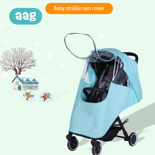 AAG Baby Stroller Accessories Raincoat Windproof Waterproof Warm Kids Pram Case Rain Cover with Window Cart Raincover Canopy