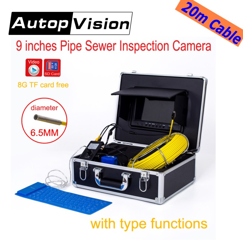 WP91 20M Cable Sewer Waterproof Video Camera 9LCD Screen Drain Pipe Inspection camera system DVR underwater snake endoscope electric power sewer snake machine auger cable drain clog cleaner snake pipe sewer 32 100mm tub ce approval